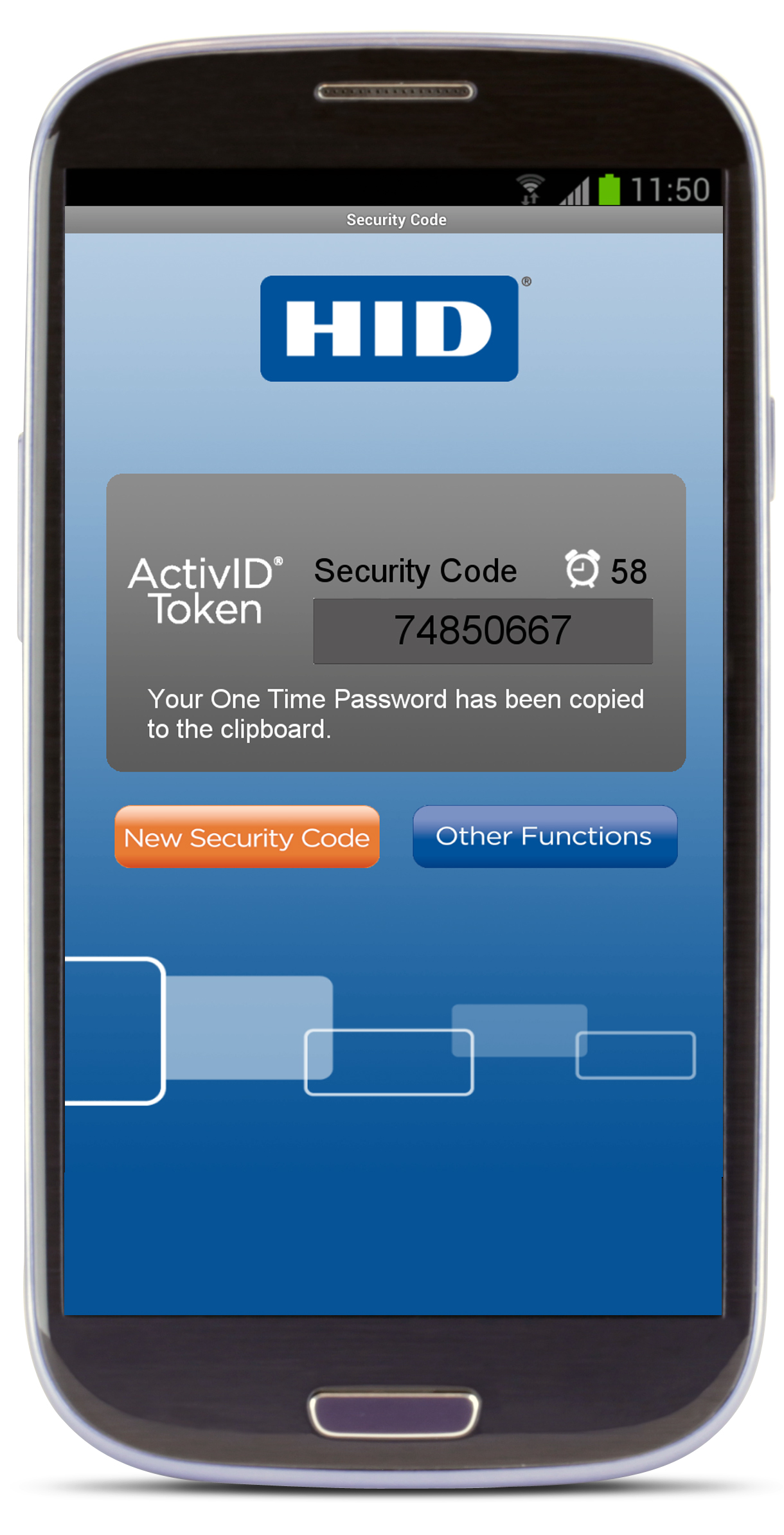 HID soft-token mobile phone screenshot V1